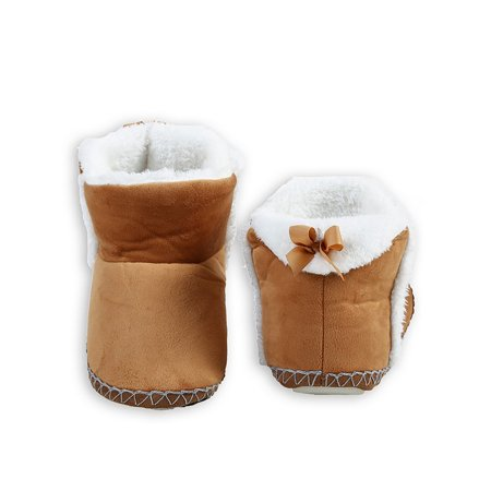 Rubber Sole Bow - Veil Entertainment Indoor Folded Cozy With Bow Rubber Sole Winter Slippers