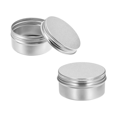 2.7 oz Round Aluminum Cans Tin Can Screw Top Metal Lid Containers 80ml (Glass Jars With Metal Screw Top Lids)