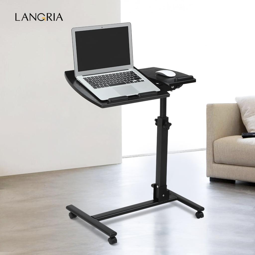 LANGRIA Mobile Desk Angleu0026Height Adjustable Rolling Table Over Bed Laptop  Desk Split Top Swivel Stand For Sofa Bed Office   Walmart.com