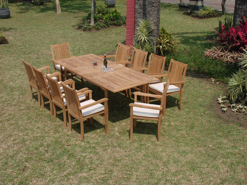 "Teak Dining Room Set:6 Seater 7 Pc 94"" Rectangle Table And 6 Cahyo Stacking Armchairs Outdoor Patio... by WholesaleTeak"