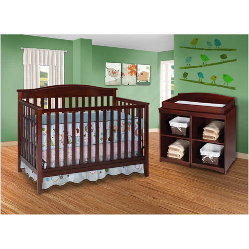Delta Bailey 4-in-1 Fixed-Side Crib and Changing Table Combo, Black Cherry / Espresso