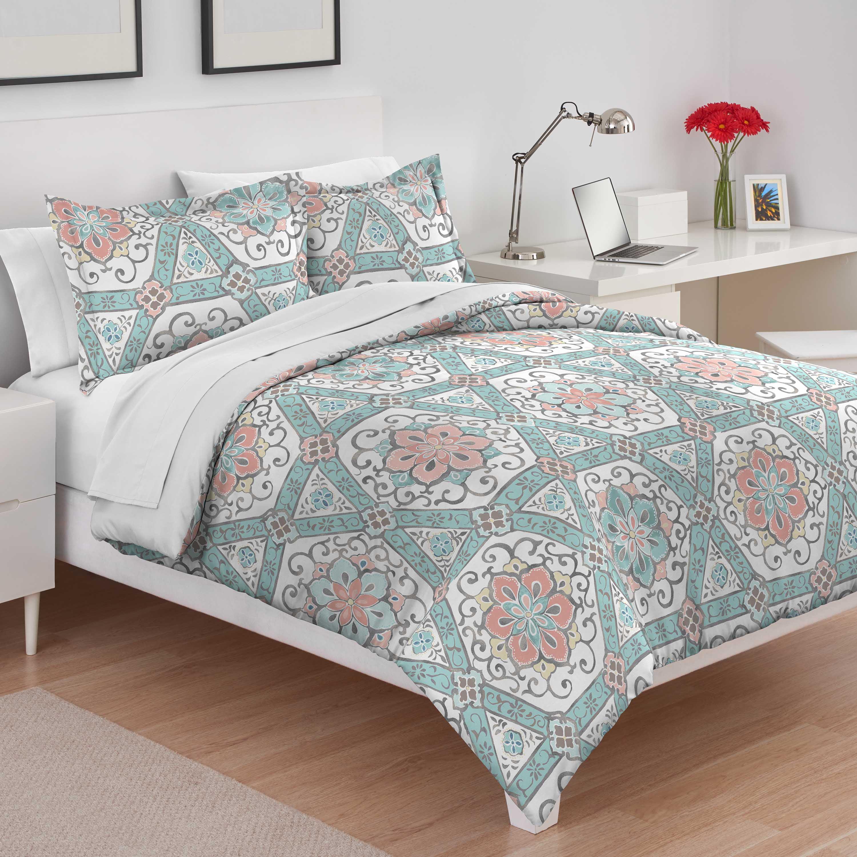 Utica Teresa King Teal Comforter Set Walmart Com Walmart Com