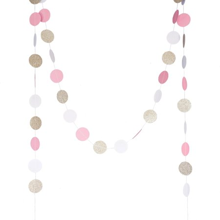 Circle Dots Paper Party Garland (10 Feet Long) by Chloe Elizabeth - Pink, White, Gold Glitter