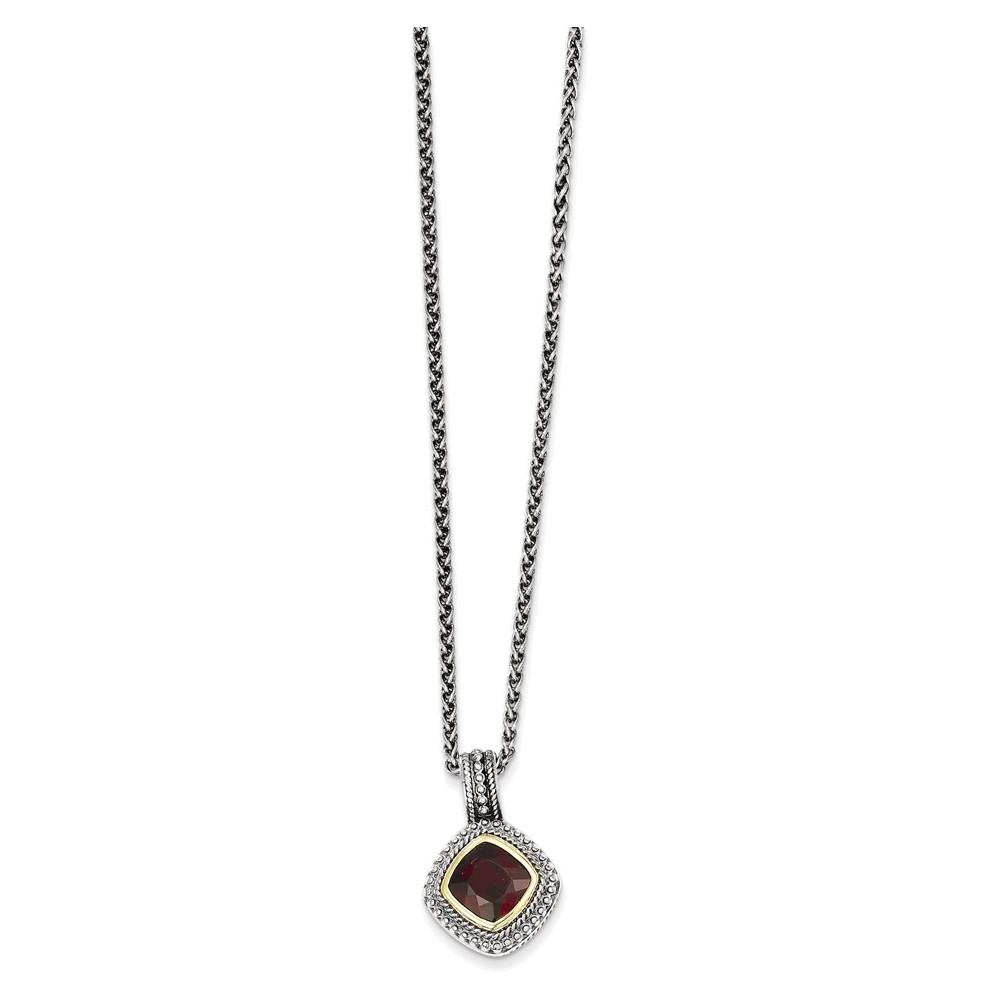 Sterling Silver w 14k Garnet Necklace by