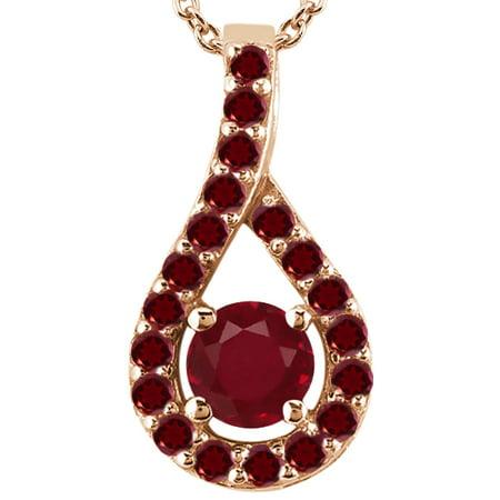 0 32 Ct Round Red Ruby Rhodolite Garnet 14K Rose Gold Pendant