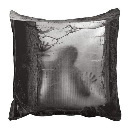 ARTJIA Black Scary of Zombie Outside Window That Is Covered with Spiderwebs and Filth White Halloween Pillowcase 16x16 inch - Halloween Thaw