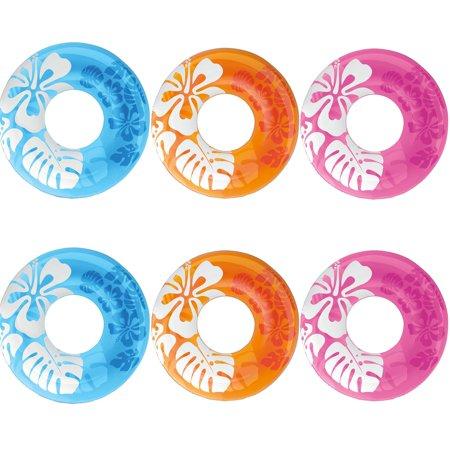 Swim Tube (Intex Colorful Transparent Inflatable Swimming Pool Tube Raft (6 Pack) |)
