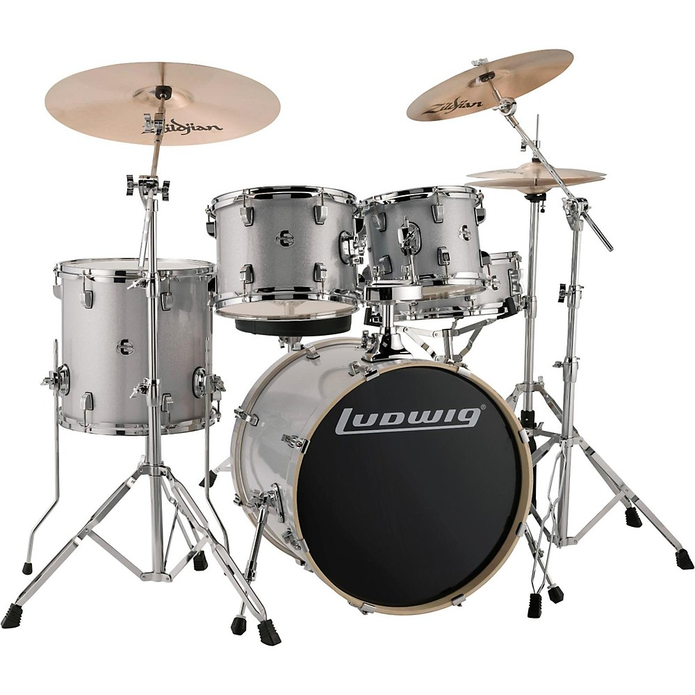 """Ludwig LCEE20028 Element Evolution 20"""" Bass Drum 5-Piece Drum Set White Sparkle by Ludwig"""