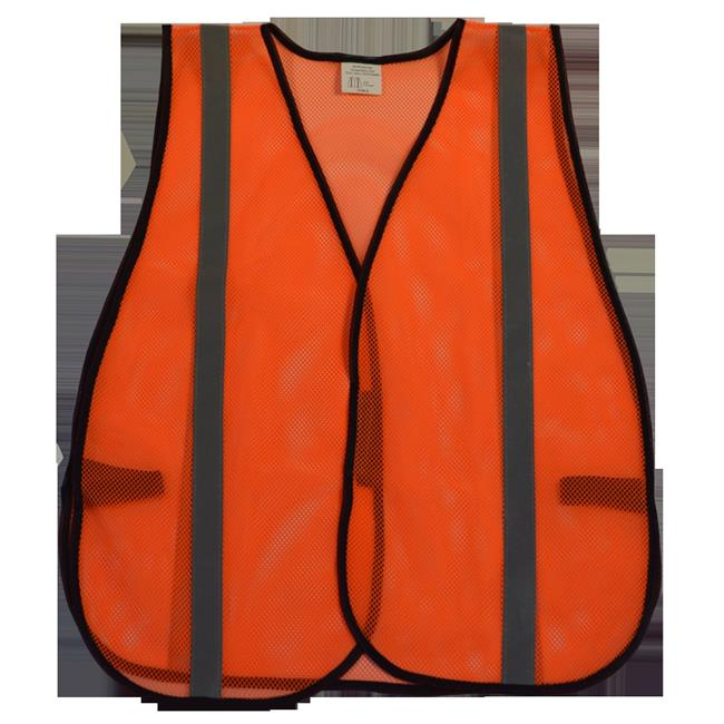 Safety Vest Orange Mesh Silver Reflective Tapes, Universal