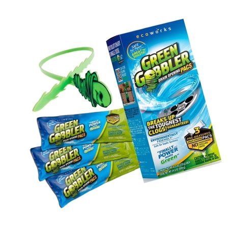 Green Gobbler Drain Opener Pacs for Drain and Toilet Clogs, 3 Pac with free (Best Toilet That Won T Clog)