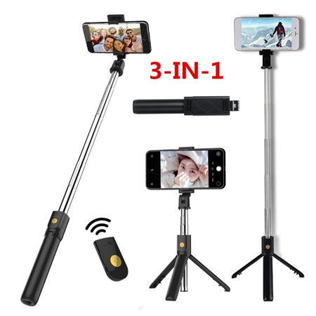 3-IN-1 Outdoor Extendable Selfie Stick + bluetooth Remote Control Shutter + Handheld Monopod Tripod Mount for iPhone & Android