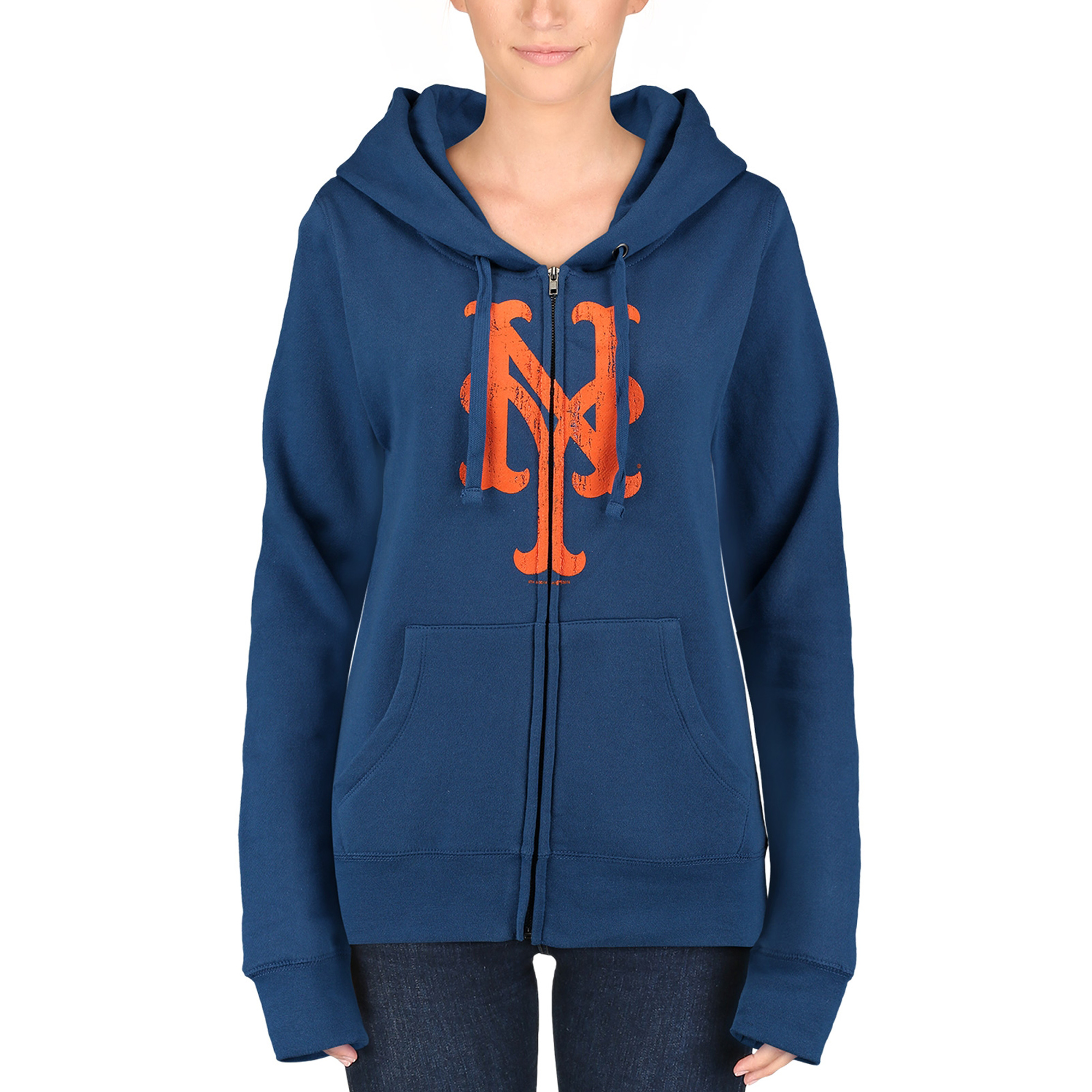 New York Mets 5th & Ocean by New Era Women's Core Fleece Hoodie - Royal Blue