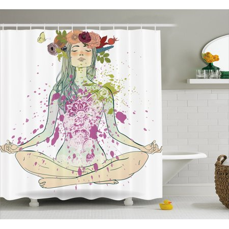 Yoga Shower Curtain, Girl with Floral Wreath Sitting in Lotus Pose Color Splashes Levitation Meditation, Fabric Bathroom Set with Hooks, Multicolor, by Ambesonne - Girls In Shower