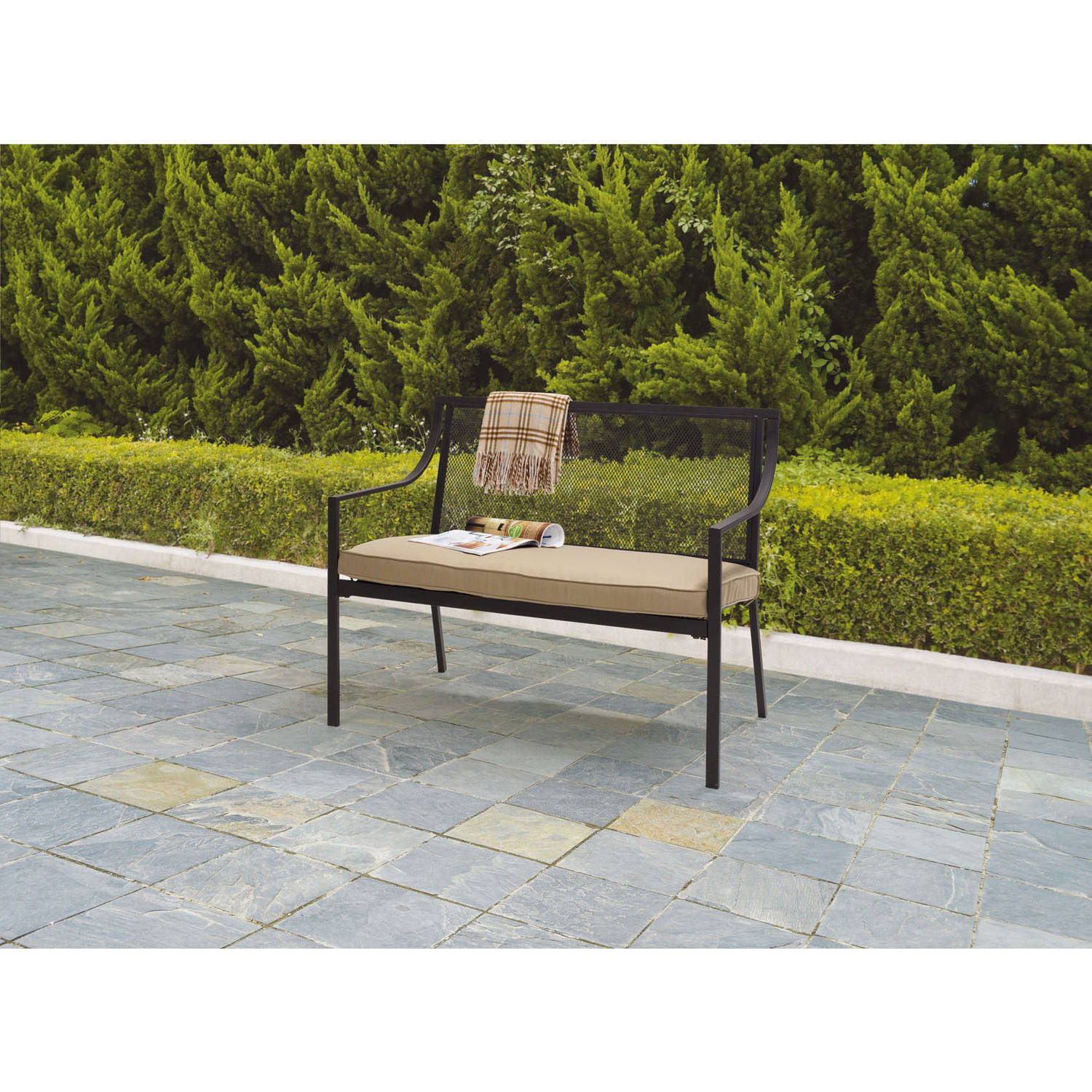 Mainstays Bellingham 2-Seat Outdoor Bench with Cushion, Tan