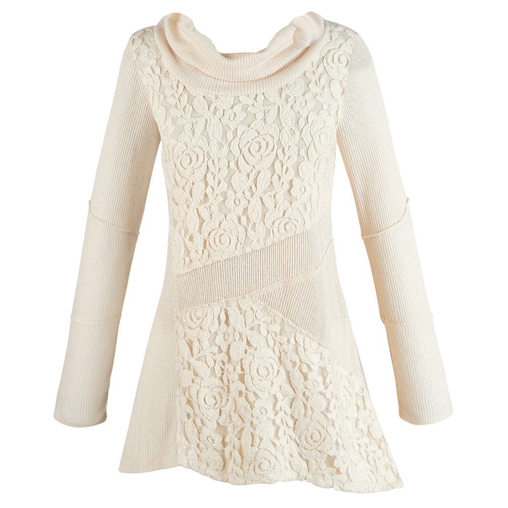 Women's Cream Tunic Sweater - Lace Cowl Neck Asymmetrical ...
