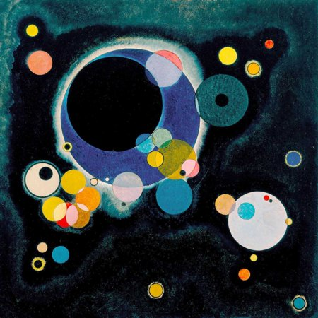 Sketch for Several Circles Stretched Canvas - Wassily Kandinsky (24 x 24) (Several Circles Kandinsky)