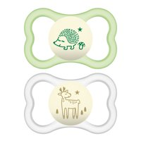 MAM Sensitive Skin Pacifiers, Baby Pacifier 6+ Months, Best Pacifier for Breastfed Babies, 'Air Night' Design Collection, Unisex, 2-Count