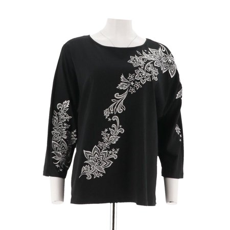 Bob Mackie Floral Embroidered Dolman Slv Knit Top A290585