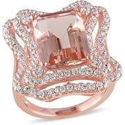 8-1/8 Carat T.G.W. Simulated Morganite and Cubic Zirconia Rose Rhodium-Plated Sterling Silver Double Halo Cocktail Ring