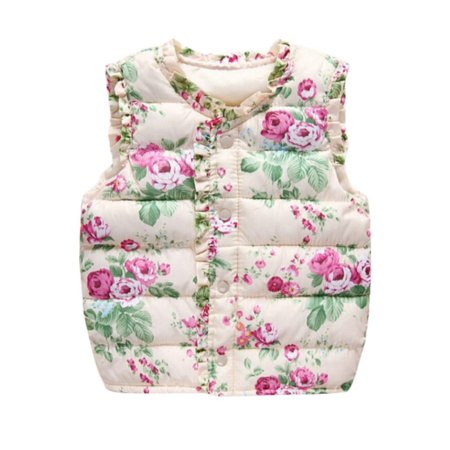 Toddler Baby Girls Casual Floral Print Waistcoat Kids Vests Outerwear