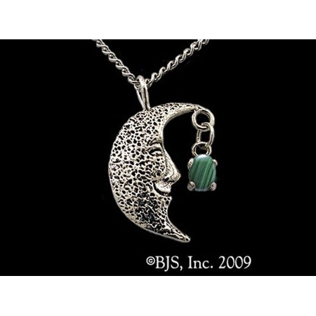 Celestial Smiling Moon Thief with Green Malachite Gemstone Necklace Made Of Sterling Silver