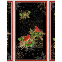"Clearance Sale~Royal Red  Cardinal Panel 23"" x 44"" Christmas Cotton Fabric by Wilmington Prints"