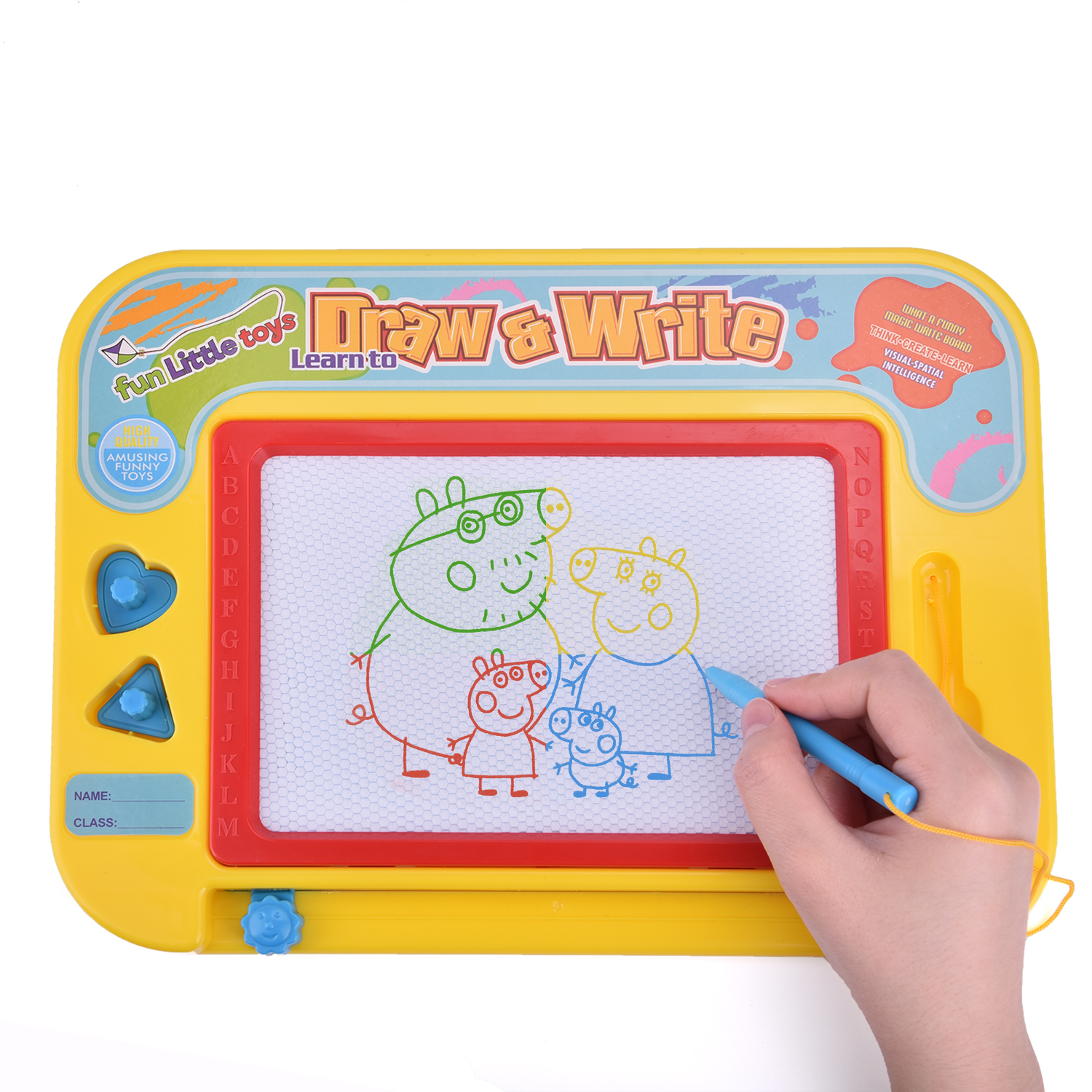 Magna Doodle Magnetic Drawing Board for Kids 4 Color Zones Erasable Sketching Writing Pad Stationery Educational Toy for Gifts Includes a Stylus Pen and 2 Stamps F-175