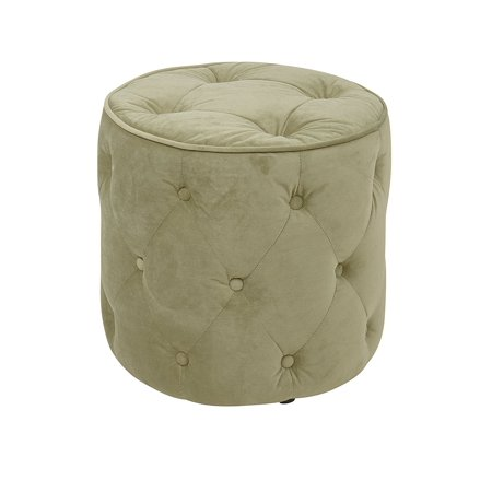 (Avenue Six Curves Tufted Round Ottoman with Espresso Finish Solid Wood Legs, Spring Green Velvet Fabric)