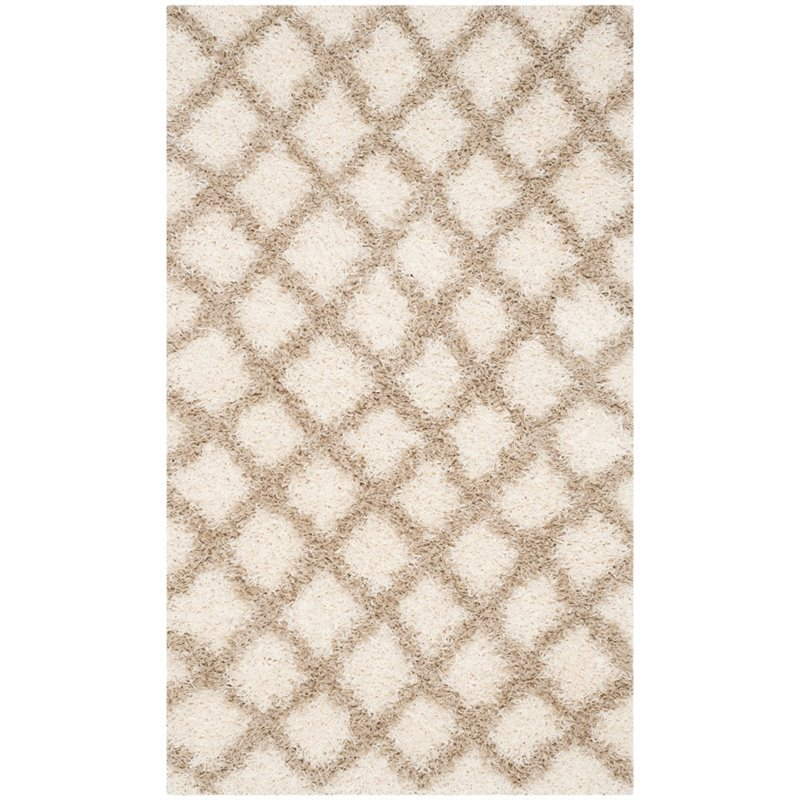 Safavieh Dallas Shag 4' X 6' Power Loomed Rug in Ivory and Beige - image 1 of 5