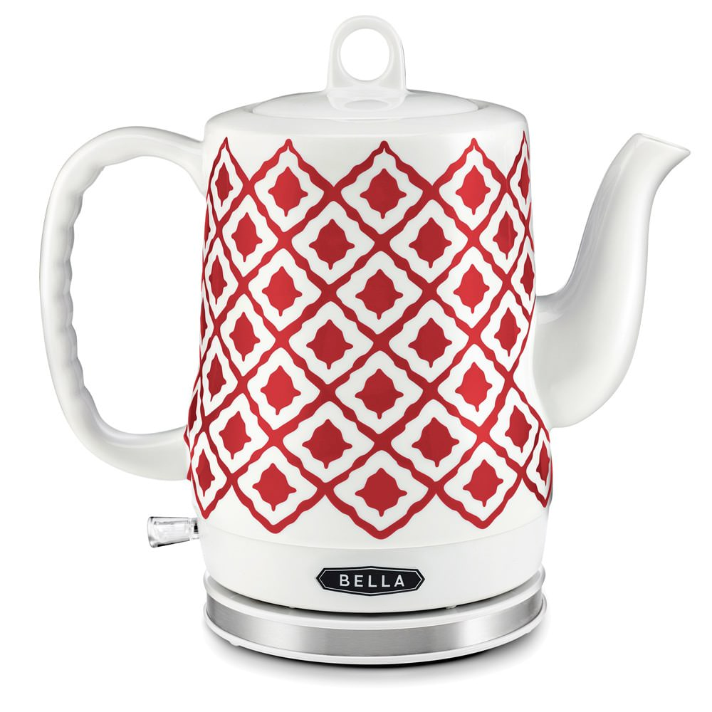 Bella 1.2L Electric Ceramic Tea Kettle with Detachable Base, Red Chevron