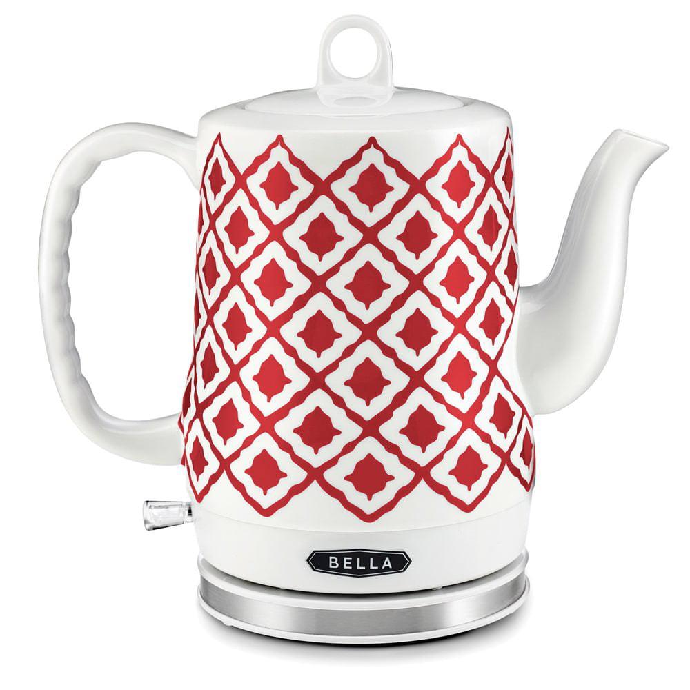 Bella 1.2L Electric Ceramic Tea Kettle with Detachable Base, Red Chevron