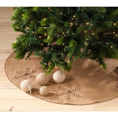 Jeweled Snowflake Burlap Design Holiday Decor Natural Chirstmas Tree Skirt, One - Snowflake Decor