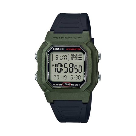 Men's Dual Time Digital Watch, Green/Black - W-800HM-3AVCF