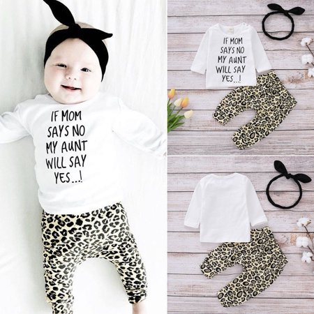 Best 3PCS Baby Girls Outfits T-shirt Tops+Leopard Pants Set Toddler Clothes