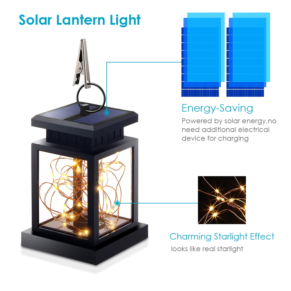 1 10 Pack Solar Lights Outdoor Hanging Lantern Garden For Patio Landscape Yard Warm White Star Dusk To Dawn Auto Sensor On Off