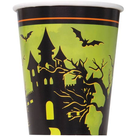 9-Ounce Haunted House Halloween Paper Cups, 8-Count - Halloween Party Cups Uk