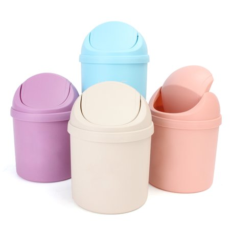 Mini Small Waste Bin Desktop Garbage Basket Table Trash Can Roll