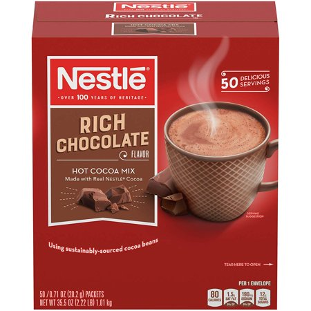 Nestle Hot Cocoa Mix, Rich Chocolate Hot Cocoa, Single Serve Hot Chocolate Packets, 50 Ct Maple Hot Chocolate