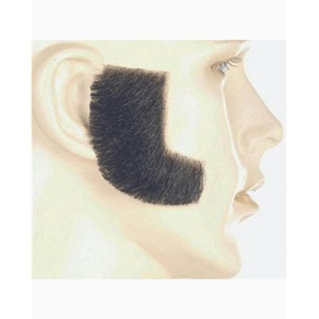 Synthetic Sideburn - Medium Chestnut Brown & Gray - Muttonchop Sideburns
