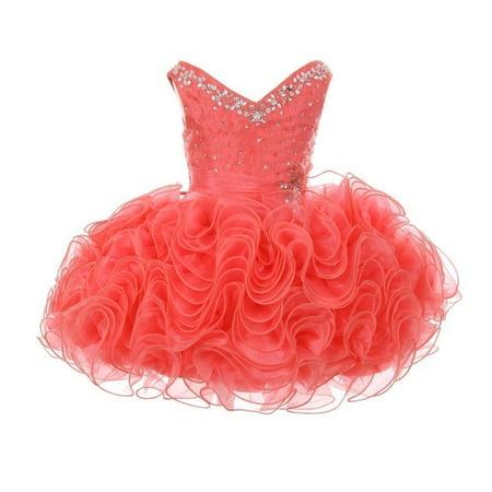 RainKids Baby Girls Coral Beading Ruffle Organza Short Pageant Dress ()
