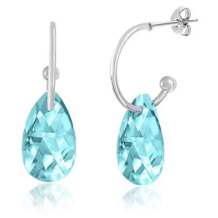Lesa Michele Women's Faceted Crystal Teardrop Shaped Charm Hoop Post Earrings in Silver-Tone Made With Swarovski Crystals (Color: Simulated Aquamarine) Shaped Aquamarine Earrings