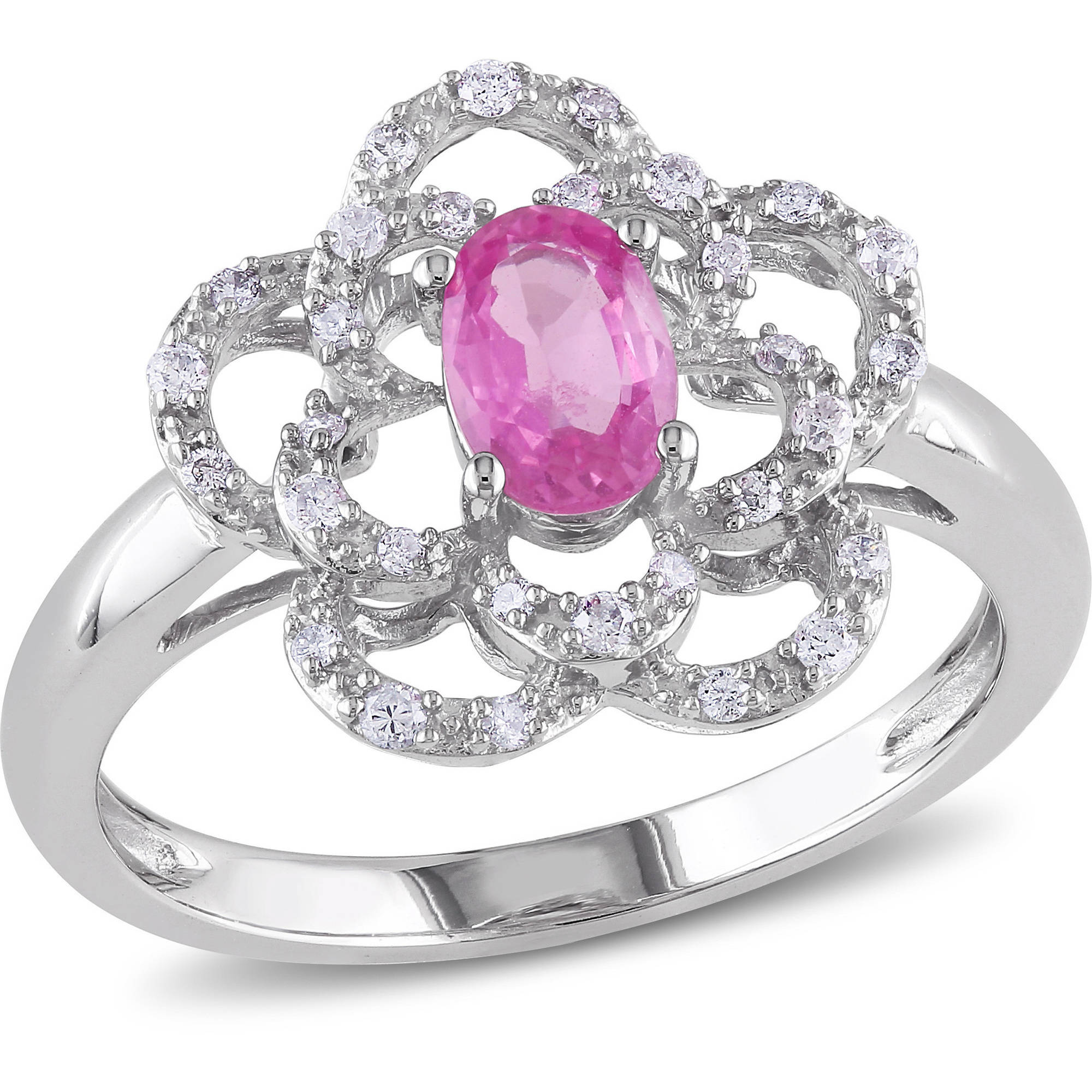 Tangelo 1 2 Carat T.G.W. Oval-Cut Pink Sapphire and 1 7 Carat T.W. Round-Cut Diamond 14kt White Gold Floral Ring by Tangelo