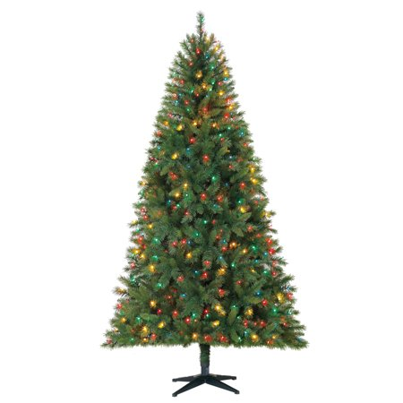 Holiday Time 7.5ft Pre-Lit Kennedy Fir Artificial Christmas Tree with 450 Multicolored Lights - Green