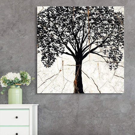 wall26 - Square Canvas Wall Art - Bohemian Tree Wood Effect Canvas - Giclee Print Gallery Wrap Modern Home Decor Ready to Hang - 16x16 inches](Bohemian Wall Art)