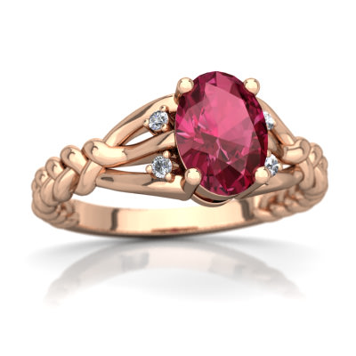 Pink Tourmaline Braided Ring in 14K Rose Gold by