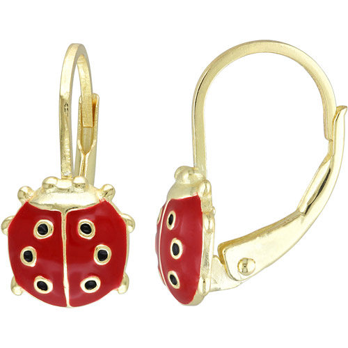 Cutie Pie 18kt Gold over Sterling Silver Girls' Red and Black Enamel Ladybug Drop Earrings