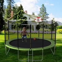 CLEARANCE! Trampoline for Kids, 2020 Upgraded 14ft Trampoline with Backboard Enclosure Net, Safety Spring Cover Padding, Basketball Hoop & Ladder, Outdoor Activity for Kids and Parents, S11610