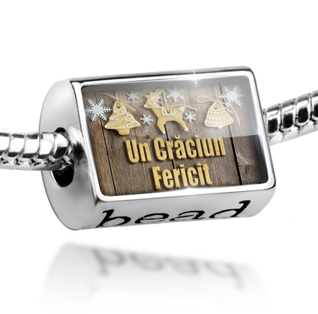 Bead Merry Christmas in Romanian from Romania, Moldova Charm Fits All European Bracelets