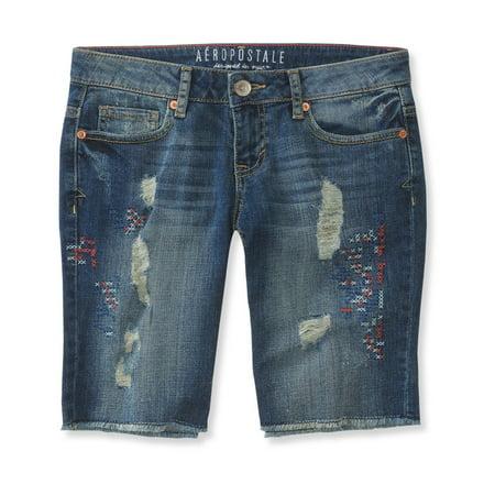 Aeropostale Juniors Destroyed Denim Casual Bermuda Shorts
