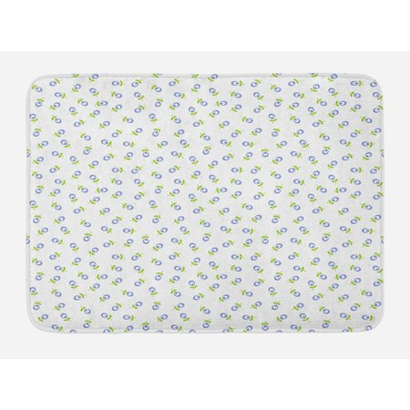 Vintage Bath Light - Floral Bath Mat, Abstract Small Spring Blooms with Green Leaves Vintage Style Pattern, Non-Slip Plush Mat Bathroom Kitchen Laundry Room Decor, 29.5 X 17.5 Inches, Green Violet Blue White, Ambesonne